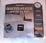 Biddeford 5300-9051128-100 Sherpa Quilted Skirt Electric Heated Mattress Pad, Twin, White