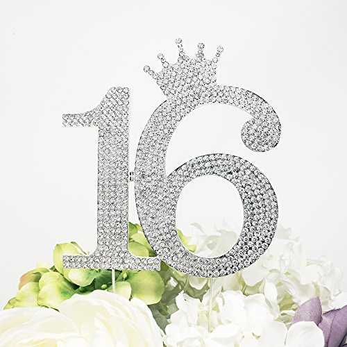 Number 16 Rhinestone Princess Crown Monogram Cake Topper - Sweet 16th Birthday Party (Silver) (16th Birthday Cake Ideas)