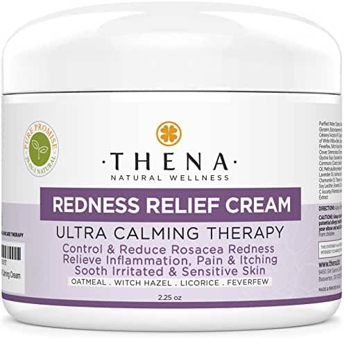 Facial Redness Relief Cream For Rosacea Care Treatment, Best Organic Natural Face Moisturizer Product Repair Soothe Relieve Sensitive Inflamed Red Dry Skin, Anti Itch Redness Dermatitis Eczema Lotion