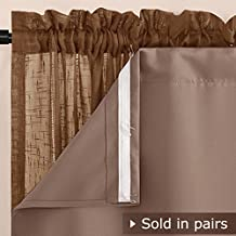 NICETOWN Thermaliner Blackout Panel Pair - 54-Inch by 80-Inch Thermal Curtains With Built-in Rod Pocket and Bonus Curtain Hooks, Cappuccino