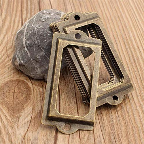 Sala-Ctr - 12Pcs Antique Brass Metal Label Pull Frame Handle File Name Card Holder For Bookcase Cupboard Case