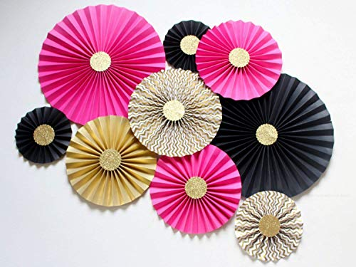 Hot pink Black Gold Cardstock Kate Spade Inspired Paper Fan Backdrop SET OF 9 for Bridal Shower, Birthday, Bachelorette party and Wedding ()