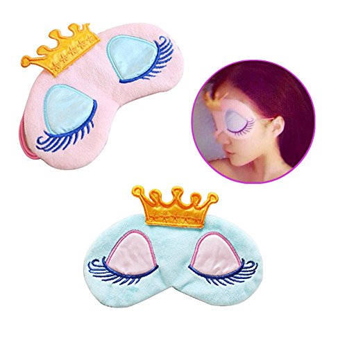 Princess Eye Mask - AKOAK Pack of 2 Cute Girl's Travel Princess Crown Sleeping Eye-Shade Blindfold Nap Cover Eye Mask(Pink+Light Blue)