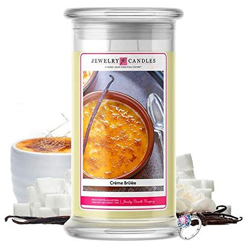 Jewelry Candles | Jewelry Valued at $15 - $7,500 | Large Long-Lasting 21oz Jar All Natural Soy Candle | Hand Poured Made in The USA Family Owned (Ring (Size 10)) (Crème Brûlée) (Creme Brulee Soy Candle)