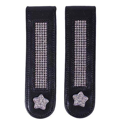 QHP Stiefel-Clip Star Leder-Clip mit Strass (-stern) zum Aufpeppen Ihrer Stiefel Pimp Ihre Stiefel