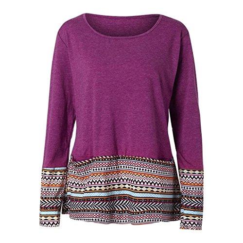 strisce patchwork moda Donne Yesmile T manica camicetta casual lunga Rosso a maniche Shirt vestiti top pizzo camicie Donna tasca stampa sciolto zfnIf6FAq