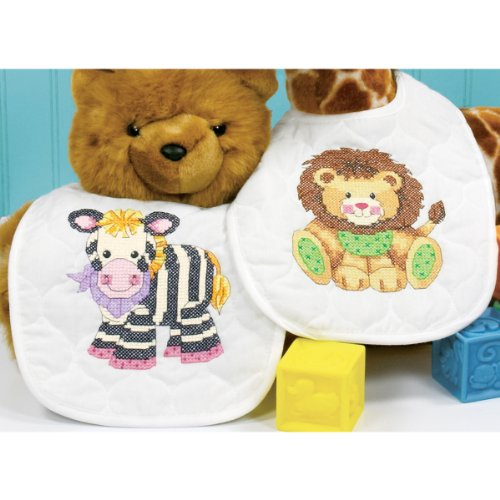 Baby Hugs Baby Express Bibs Stamped Cross Stitch Kit-9''X14'' Set Of 2 Baby Hugs Baby Express - Stitch Express Cross