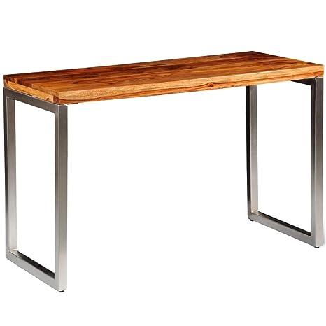 vidaXL Tavolo da Sala da Pranzo scrivania in Legno di sheesham Gambe ...