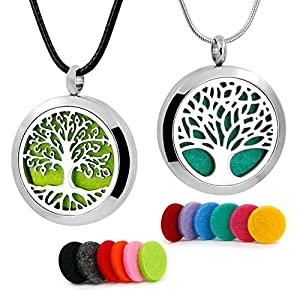 RoyAroma 2PCS Tree of Life Aromatherapy Essential Oil Diffuser Necklace Stainless Steel Locket Pendant 12 Felt Pads