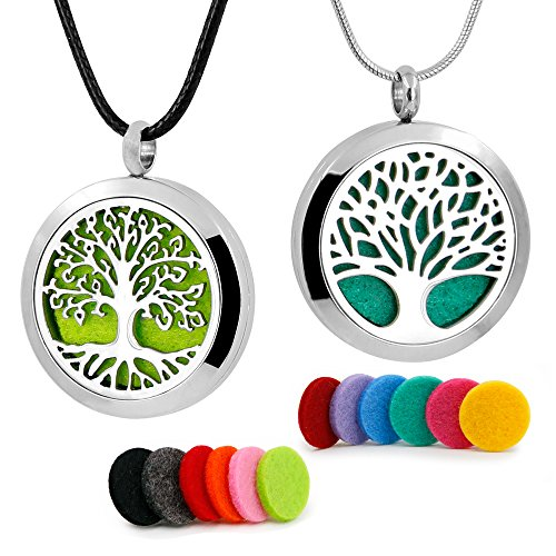 RoyAroma 2PCS Tree of Life Aromatherapy Essential Oil Diffuser Necklace Stainless Steel Locket Pendant 12 Felt (Aroma Tree)