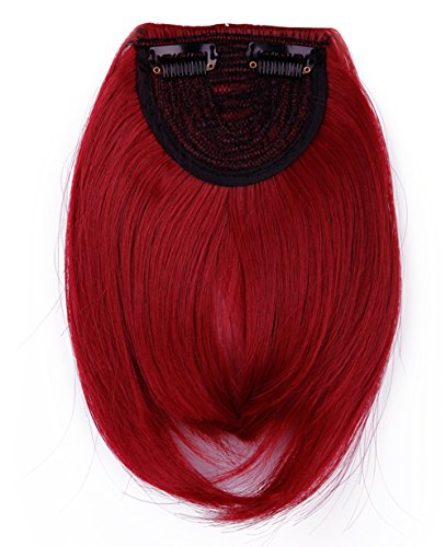 LAY Long Thick Straight 2 Clips Dark Red Clip On Front Fringe Neat Bangs Hair Extensions 30g Cospaly (Red Wig With Bangs)