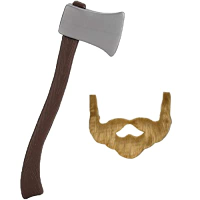 "NOVELTY GIANT WWW.NOVELTYGIANT.COM 24"" Plastic Lumberjack Axe & Brown Beard Costume Set: Toys & Games"