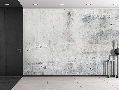 Grungy Gray Cracked Painted Wall Wall Mural Removable Vinyl Wallpaper