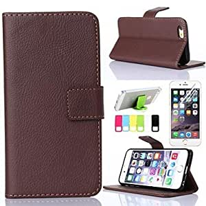 HJZ Brown Litchi Grain PU Leather with Stents and Screen Protector Case for iPhone 6 Plus