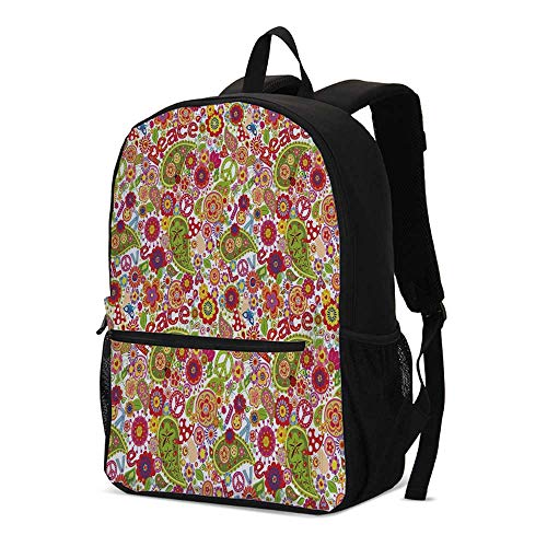 70s Party Decorations Fashional Backpack,Festive Hippie Childish Composition of Mushrooms Poppies Peace Fun Decorative for School Travel,12.2
