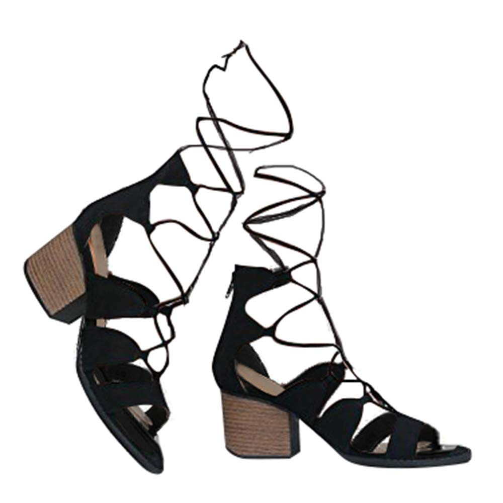 199329b9a2e J. Adams Low Wood Heel Lace Up Sandal - Trendy Gladiator Tie Up Shoe - Sexy  Suede Chunky Heel - Melly