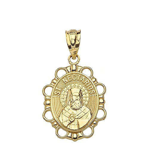 14k Yellow Gold St. Nectarios of Aegina Oval Medal Protection Charm Pendant from Saint Collection