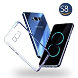 Galaxy S8 Case,JACNITAD S8 Clear Slim Hybrid Armor Perfect Fit Hard Anti Scratch Excellent Grip Flexible TPU Non Bulky Shockproof Protective Cover for Samsung Galaxy S8 - Crystal