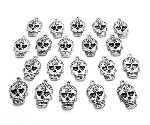 Set of Twenty (20) Silver Tone Pewter Sugar Skull Charms 5178