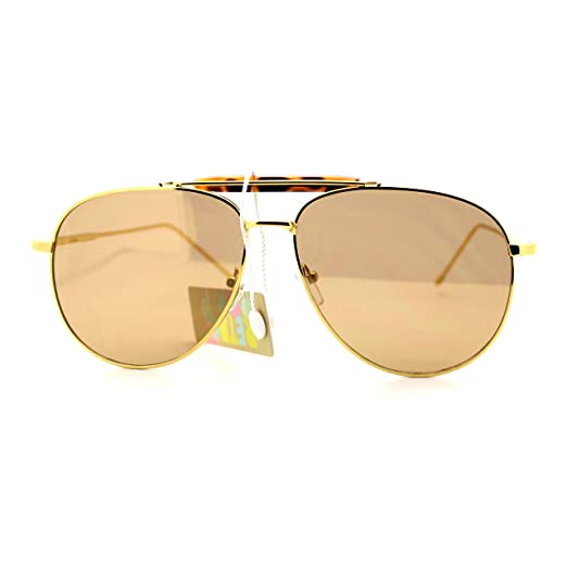 a814f4c8160 New Flat Lens Aviator Sunglasses Vintage Retro Top Bar Metal Aviators Gold  Mirror