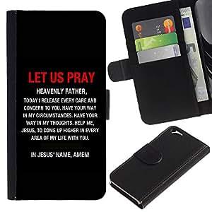 LASTONE PHONE CASE / Lujo Billetera de Cuero Caso del tirón Titular de la tarjeta Flip Carcasa Funda para Apple Iphone 6 4.7 / BIBLE Let Us Pray In Jesus' Name