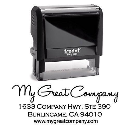 - Business Self Inking Stamp Black - Return Address Office Stamper - Custom Personalized Company Address - Large 4 Lines - Professional Company Branding