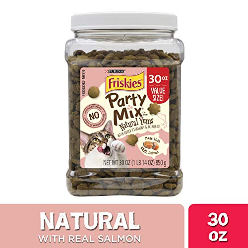 Purina Friskies Made in USA Facilities, Natural Cat Treats, Party Mix Natural Yums With Real Salmon - 30 oz. Canister (Cat Party)