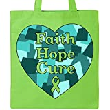Inktastic - Faith, Hope, Cure- ovarian cancer Tote Bag Lime Green 31580