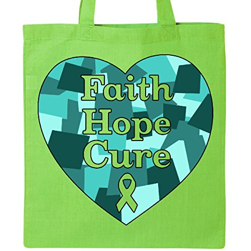 Inktastic - Faith, Hope, Cure- ovarian cancer Tote Bag Lime Green 31580 by inktastic