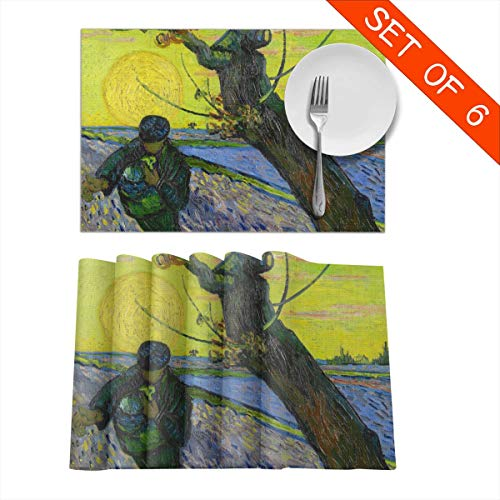 Barnardll-Home Placemats Set of 6 The Sower with Setting Sun Van Gogh Heat-Resistant Placemat for Dining Table Place Mats Anti-Skid Washable Kitchen Table Mats (The Sower With Setting Sun Van Gogh)