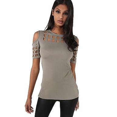 db69e2cffed Vovotrade® Femmes Mode Bretelles Creux à Manches Courtes T-Shirt  Décontractée Top Blouse Irrégulière