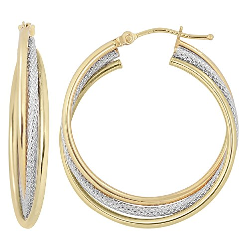 10k Two-Tone Gold High Polish And Textured Overlapping Triple Hoop Earrings ()