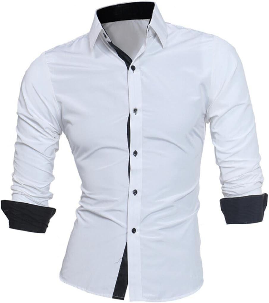 Camisas hombre Auto-cultivo de los hombres costura mangas largas camisa-Tops estilo de otoño,YanHoo® Mens Casual manga larga camisa negocio Slim Fit Camisas de color puro blusa (Blanco, XL): Amazon.es: Iluminación