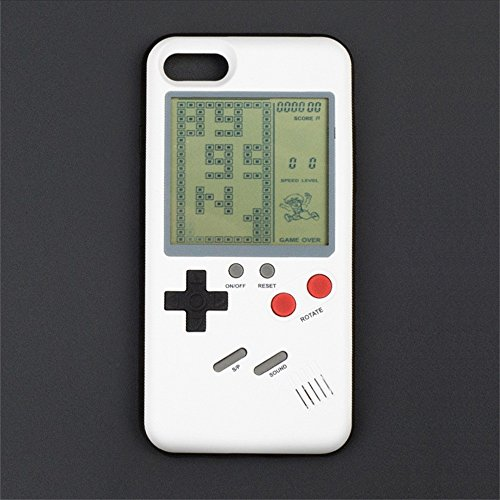 Pride Jump Block - ELEOPTION Funny Gameboy iPhone Case with 10 Games Tetris Silicone Full Protective Phone Cover Screen Protector for Killing Time Stress Relief (white, iphone7 fit with iphone 8)