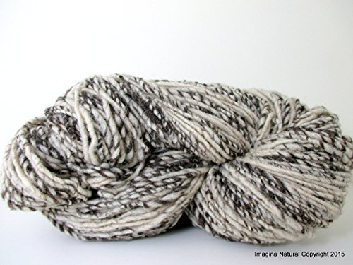 (Hand Spun, Undyed, Non treated, Pure Chilean Araucana Wool Knitting Yarn Handmade - Natural White and Grey - No Added colour 100g 3.5oz)
