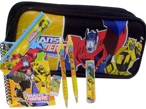 Transformers Animated Black Pencil Case + Stationery Set