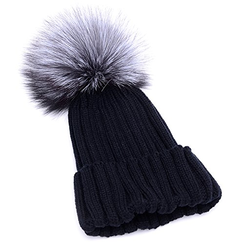 424111758 GuoMan Womens Girls Knitted Fur Hat Real Large Silver Fox Fur Pom Pom  Beanie Hats Navy