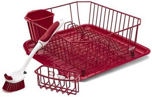 rubbermaid 4 piece dish rack sinkware set red new ebay. Black Bedroom Furniture Sets. Home Design Ideas
