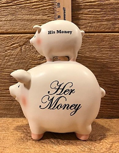 Ceramic His Money / Her Money Piggy Bank 8 1/2'' tall Wedding Supplies 049-26134 by YourLuckyDecor by NewLuckyDecor