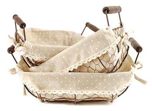 Oval Bowl Shaped Polka Dot Chicken Wire Nesting Baskets 8.5 x 12 Storage Set of 3