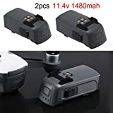 Inverlee 2PCS DJI Spark Replacement Intelligent Flight Battery 1480mah 16m Flight Part (Black)