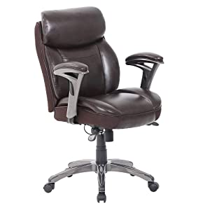 Serta Smart Layers Siena Bonded Leather Mid-Back Managerial Chair, Brown