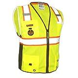 KwikSafety (Charlotte, NC) BIG KAHUNA (11 Pockets) Class 2 ANSI High Visibility Reflective Safety Vest Heavy Duty Mesh with Zipper and HiVis for OSHA Construction Work HiViz Men Yellow Black Medium