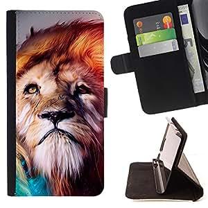 - Lion Animal King Jungle Mane - Estilo PU billetera de cuero del soporte del tir???¡¯????n [solapa de cierre] Cubierta- For Apple Iphone 4 / 4S £¨ Devil Case £©