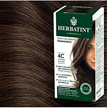 Herbatint Tinte para cabello castaño ceniza 4C, 300 ml, gel colorante