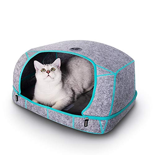 CAT Care Cat Cave Bed - Cat Caves for Indoor, Removable Cave Design, Soft Graphene Heating Cushion, Scratch-Resistant & Collapsible & Washable Heated Cat Bed, Perfect Cat Cave for Indoor Cats