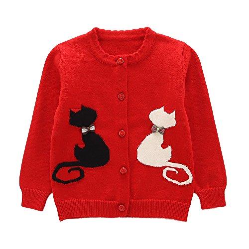 Kids Pattern Sweater (Moonnut Girls Cardigan Sweaters Kitten Pattern Long Sleeve Knitted Outwear (2T, Red))