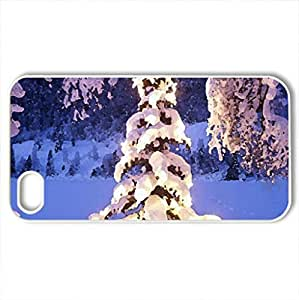 beautiful lit tree in the winter wilderness - Case Cover for iPhone 4 and 4s (Winter Series, Watercolor style, White)