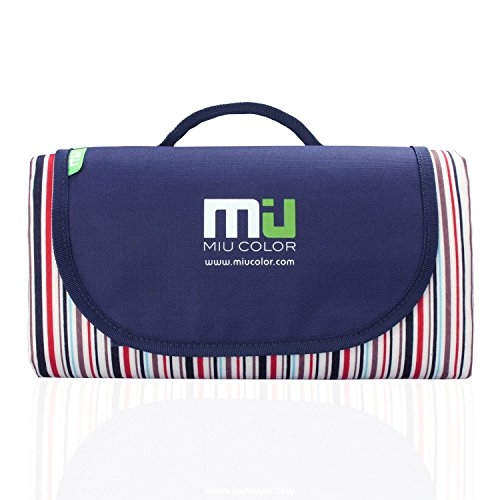 MIU COLOR Foldable Large Picnic Blanket - Waterproof and Sandproof, Camping - Single-deck Streak- 2 layers
