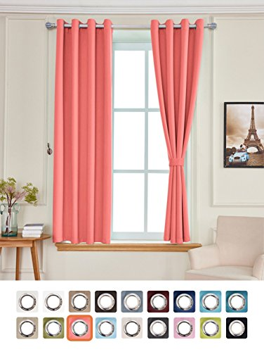 Yakamok Light Blocking Darkening Thermal Insulated Blackout Curtains Solid Grommet Top Window Draperies/Drapes/panels for Bedroom/Living Room 52x84 Inch Coral Orange 2 Panels (Coral And Turquoise Curtains)